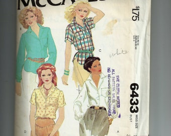 McCall's Misses Shirts Pattern 6433