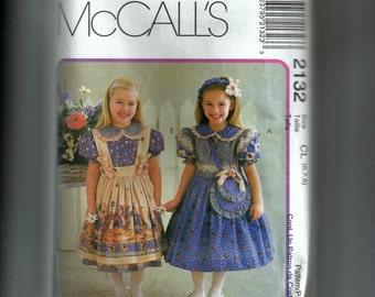 McCall's Girls' Dress, Pinafore, Tabard, Purse, and Headband Pattern 2123