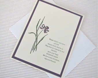 Condolence/sympathy card handmade stamped those whom we have loved never really leave us Rossetti iris green plum stationery greeting home