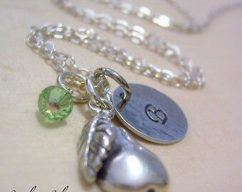 Personalized Pear Charm Necklace, Hand Stamped Sterling Silver, Personalized Initial and Birthstone Necklace, Pear Lover Necklace