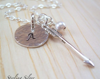 Monogrammed Arrow Charm Necklace, Personalized Initial & Birthstone, Hand Stamped Sterling Silver Jewelry, Personalized Gift, Arrow Charm