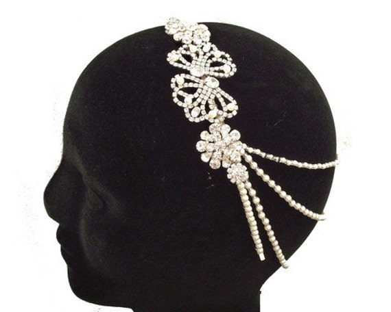 Grecian Style Draping Pearls on Vintage Style Hairband, CHARLOTTE