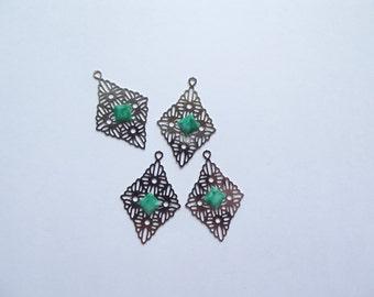 Vintage silver green diamond charms
