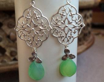 Green Apple chalcedony earrings