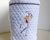 Kitchenaid Stand Mixer Cover - Quilted White Fabric with Machine Embroidered Baker
