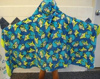 Hooded Towel/Polka Dot Sharks/Beach/Vacation/After Bath/Swim/Gift