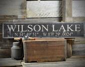 Lake Sign, Lake House Sign, Lake House Decor, Custom Lake Sign, Latitude & Longitude Sign, Lake Cabin Sign Rustic Vintage Wooden ENS1000492
