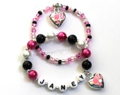 Vintage Barbie Inspired Charm Bracelet Hot Pink Black & White Name Bracelet Personalized Jewelry Vintage Ponytail Girl Silhouette Cameo