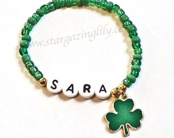 St. Patrick's Day Bracelet Personalized Name Bracelet Shamrock 4 leaf clover Charm Child Jewelry Party Favor Infant Children Kid Adult Sizes