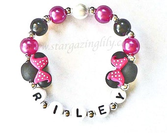 Black Mouse Ears with polka dot bow Hot Pink Mini Mouse Jewelry Personalized with Name Bracelet Hypoallergenic Handmade Polymer Clay Beads