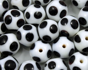 12mm Handmade Round White Bead with Black Spots (4 Pcs) #1110