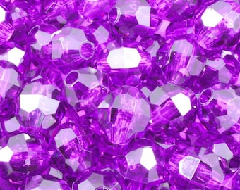 8mm Dk. Amethyst Quality Plastic Faceted Bead