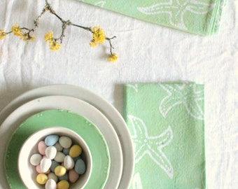 made to order spring napkins: pastel mint starfish batik