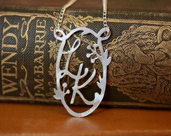 Handmade Decorative Double Initial Necklace - Berries