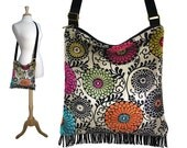 Art Nouveau Floral Tapestry Bag, Boho Sling Bag, Tapestry Cross Body Bag, Fringe Hobo Purse, Hippie Bag, pink red blue orange green MTO
