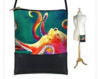 Clara Nilles Small Cross Body Bag, Shoulder Bag Purse, Mini Crossbody Bag, Smartphone Purse fits iPhone 6 Plus, octopus  RTS