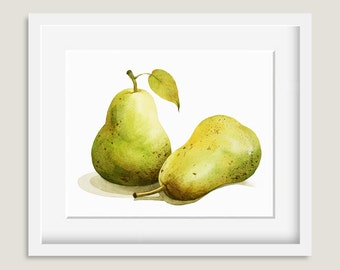 Watercolor Painting - Pear Painting - Watercolor Pear - 8 by 10 print - Archival Print, Minimalist, Home Decor, Fruit Art