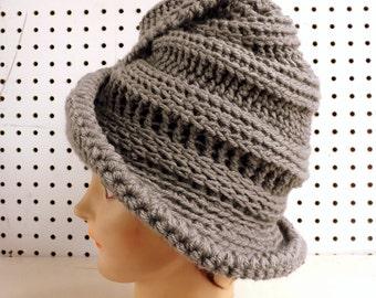 Crochet Hat for Women, Womens Hat Trendy, Crochet Floppy Hat, Steampunk Top Hat, Gray Hat, Virginia Crochet Wide Brim Hat for Women