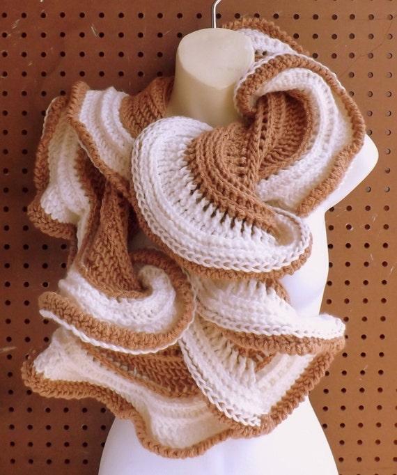 LATTE Crochet Scarf Pattern, Crochet Infinity Scarf Pattern, Ruffle Scarf Crochet Pattern, Ruffle Scarf Pattern, Cowl Scarf Pattern