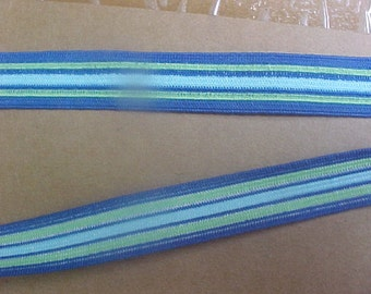 Elastic 5/8 Blue Green or White Turquoise Coral Stripe Waistband Sport 5 yds.