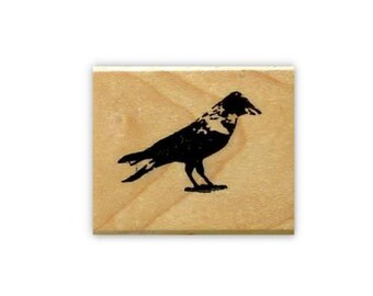 CROW mounted bird rubber stamp No.15