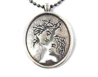 Love couple charm sterling silver necklace Cut out handcut art pendant