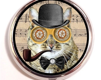 Steampunk Cat Pill box Pill Case Holder Pillbox Kitschy Mr. Whiskers with Pipe birth control case Kitty Feline