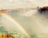 niagara falls photography, rainbow decor, blue decor, landscape, ontario canada, buffalo new york, waterfall, Double Rainbow