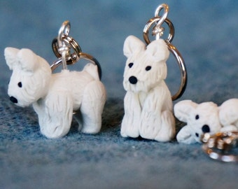Westie Polymer Clay Stitch Markers set of 4 Miniature Sculpted Charms Knit Crochet Animal Accessories