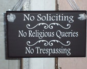 No Soliciting No Religious Queries No Trespassing Wood Vinyl Sign Home Living Decor Do Not Disturb Private Property Residence Keep Out Plaqu