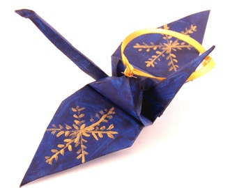 Gold Snowflake on Midnight Blue Origami Crane Christmas Tree Ornament Holiday Decoration