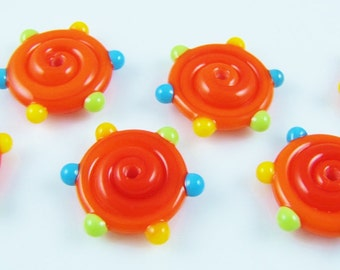 Orange Dotted Lampwork Glass Disc Beads (6)