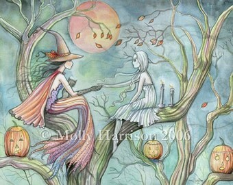 October Flame Halloween Witch and Black Cat Giclee Print of