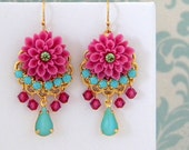Fuschia Pink Turquoise Rhinestone Dangle Earrings