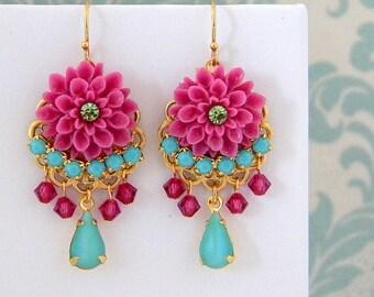 Fuschia Pink Turquoise Rhinestone Dangle Earrings