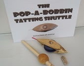 Pop a bobbin tatting shuttle - SPALTED BEECH (WITH hook) - oiled
