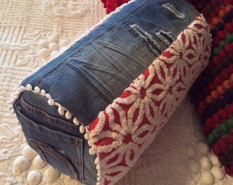 Red, White and Blue Jeans Fat Bolster Pillow