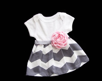 BOUTIQUE Baby CHEVRON DRESS... in grey and white chevron and satin pink rose accent