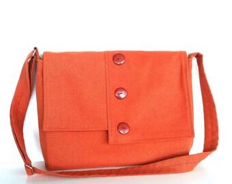 Women messenger bag ,Large school cross body bag in coral color  ,  College bag , Travel bag , Vegan  corder canvas shoulder bag