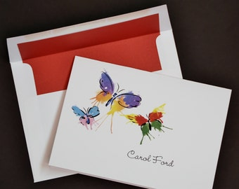 Ink Blot watercolor butterflies, personalized cards, set of 10