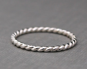 Twist Ring, Sterling Silver Ring , Silver Twist Ring , Sterling Silver Stack Ring