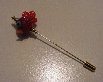 Red Goldfish Art Glass Stick Pin.........Lot 142