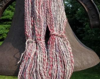Handspun Alpaca Wool Yarn for Knitting, Crochet, Weaving, Felting, Red, Gray, Blue Yarn, Bulky Yarn - 194  yards