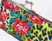 Coupon Organizer Purse Leopard Rose