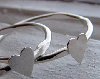 Heart Stacking Ring in Sterling Silver - A Single Narrow Band of Silver