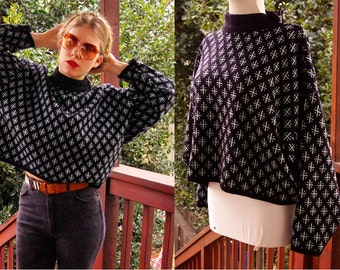 Blue CROSS 1980's 90's Vintage Black & Baby Blue Cropped Sweater // by Jonathan Hunter // size Large