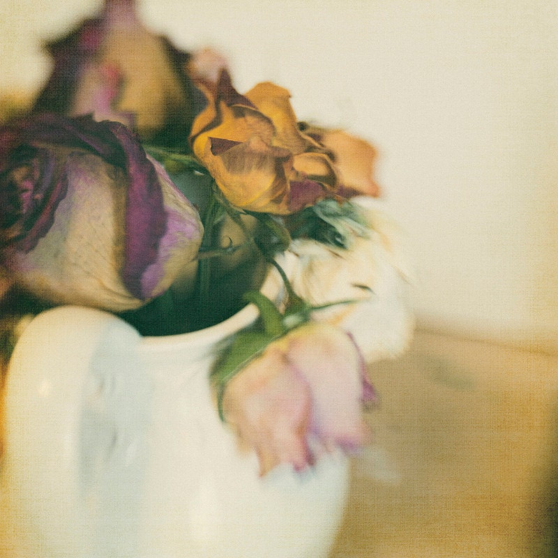 Gallery32etsy Pink Dried Linen Roses 8x8 Flower Photography Home Decor Photo Modern Wall Decor Nursery Decor Office Deco