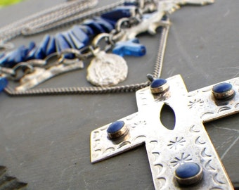 mexican milagros necklace, lapis lazuli necklace, large cross statement necklace, lapis lazuli jewelry,