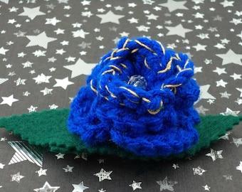 Idris - Crocheted Rose Barrette - Blue and Gold (SWG-HB-DWID03)
