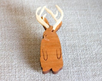 Jackalope Brooch - jackalope gift - jackalope jewellery - gift for her - rabbit brooch - cryptozoology gift - unusual jewellery